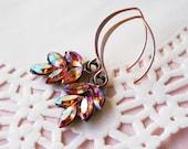 Light Rose Ab Rhinestone Leaf Earrings, Peachy pink wires