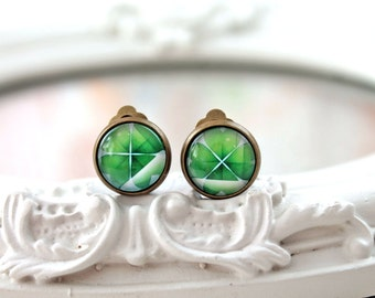 St Patricks day green clover shamrock clip earrings geekery Ireland