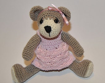 Instant Download - PDF Crochet Pattern -   Bear with Outfits  - dress and pants