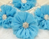 New! 2pcs Handmade soft shabby chiffon flowers--blue (FB1047)