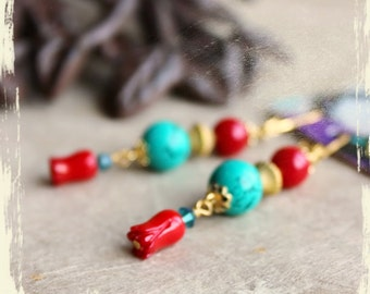 NEW : Earrings Folklore de tulipes – turquoise, branch coral, pewter, Swarovski crystals