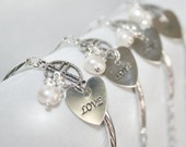 Love Stamped Heart Bracelet w Cultured Pearl and Choice of Crystal Color