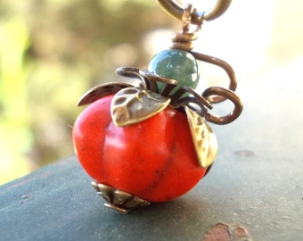 Organic Pumpkin necklace, howlite stone bead natural moss agate brass, berry fruit turquoise persimmon pomegranate, orange rustic