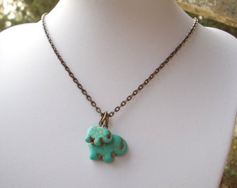 Turquoise elephant necklace blue stone mother and child girl boy son daughter mommy baby handmade necklace carved animal ethnic bronze brass
