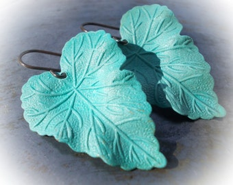 Large leaf earrings dangle earrings for women solid brass turquoise blue green patina verdigris retro new cottage chic woodland shabby boho