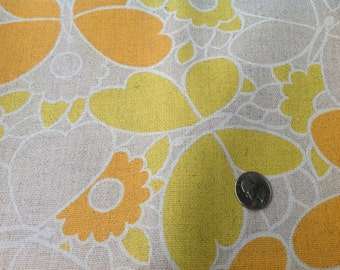 2 Yards of  Vintage Yellow, Orange, and Brown Mod Flowers and Butterflies Knit Fabric