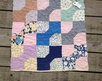 Vintage Hand Quilted Feed Sack Fabric Bow Tie Pattern Cutter Quilt Piece