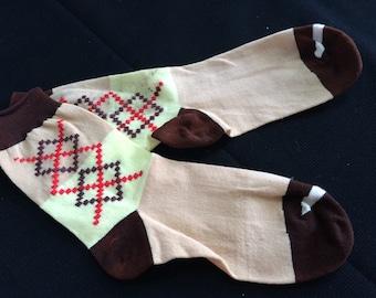 Pair of Vintage New Brown, Tan and Yellow Boys Socks