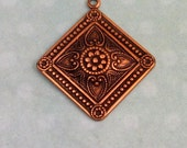 Etched Diamond Pendant, Antique Copper AC153