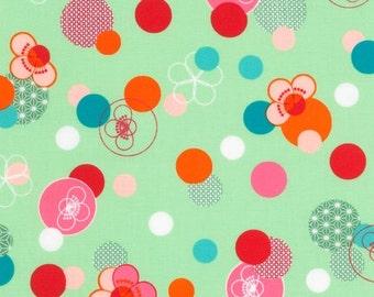 1 yard HELLO TOKYO Green Fabric by Robert Kaufman