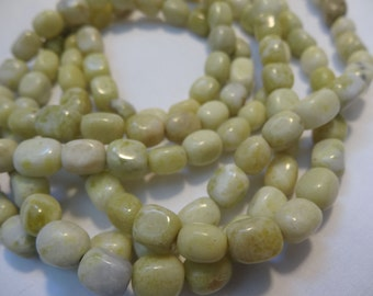 16 inch Strand Natural Yellow 'Jade' Cubed Nugget 8 to 10mm Long Stone Beads A652