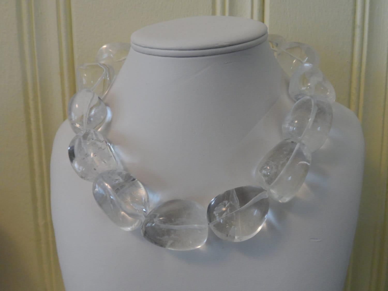 chunky clear crystal quartz necklace