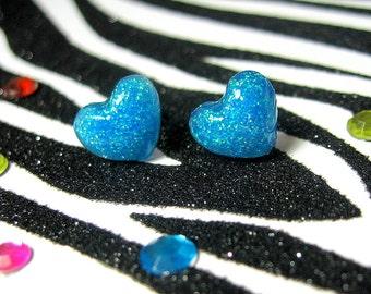 Neon Blue Earrings, Resin Heart Studs, Electric Blue, Kawaii Glitter Stud Earrings