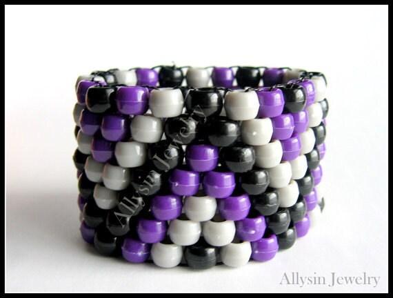 Purple Kandi Cuff Bracelet, ZigZag Raver Plur, Black, Gray Zig Zags