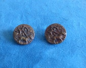 Antique Collectable Pair of Buttons, Chariot Rider Copper over Metal Collectors Buttons