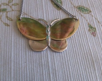 Vintage Avon Gold and Silver Butterfly Necklace