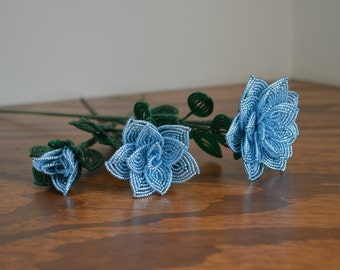 3 french beaded flowers handmade roses different sizes Dark Ice blue color