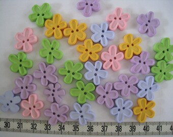30pcs of Flower Button - 18mm - Pastel Pink Blue Purple Yellow Green