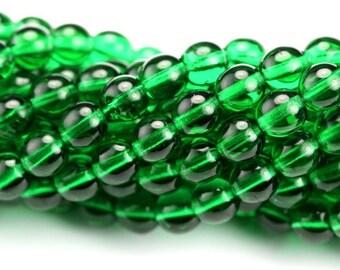 Czech Glass Bead Round Druk 6mm Emerald Green (50) CZP729