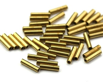 Metal Beads Small Tube Raw Brass 6x1.5mm (50) M030