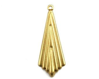 Art Deco Pointed Layered Drop Charm Raw Brass (4) CP254