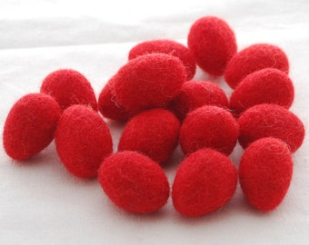 100% Wool Felt Eggs - 10 Count - Felted Mini Eggs - approx 18mm x 28mm - Red