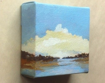 """SAMPLE LIFE, oil painting landscape painting original painting, 100% charity donation, 4""""x4""""x1.5"""" stretched canvas, bay, clouds"""