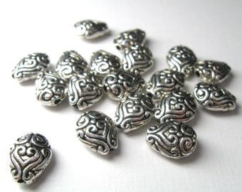 Beautiful Scroll and Heart Patterned Teardrop Pewter Beads Bali Style Antiqued Silver 10mm x 8mm x 4mm - Qty 18