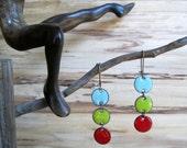 Modern Enamel Chandelier Earrings, Dangle Earrings, Bright Blue, Bitter Yellow, Flame Red, Nickel Free Kidney Ear wire, Handmade