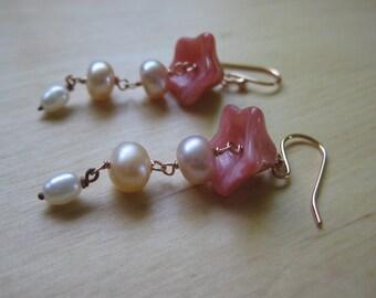 Insouciant Studios Pink Bellflower Earrings in 14k Rose Gold Filled