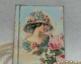 Set of 6  Handmade Victorian Girl With Roses Gift Tags