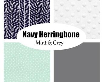 Custom Crib Bedding-Navy Herringbone, Mint and Grey