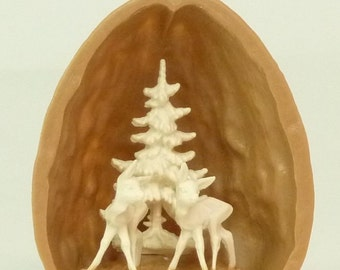 Walnut Shell with Two Deer - 203-3-137C