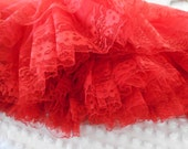 true vintage lipstick RED 3 layer chiffon & lace square dance petticoat slip crinoline, fire engine red skirt, partners please malco modes S