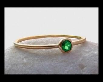 Tsavorite Garnet 14k Gold Stack Ring