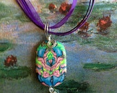 Green and Pink Necklace / Pendant Polymer Clay