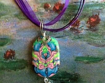 Green and Pink Necklace ,Polymer  clay  Necklace , Pendant,  Polymer Clay