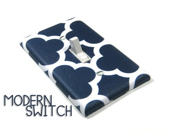 White and Navy Blue Quatrefoil Light Switch Cover Cloverleaf Pattern Geometric Home Decor Switchplate Switch Plate