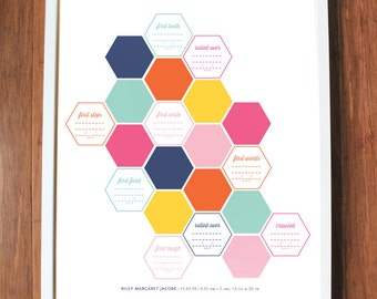 Baby's First Year Print, geometric print, kids wall art, hexagons, gift, CUSTOM, 8x10