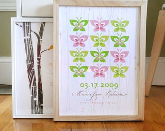 Nursery print with butterflies and wood grain pattern, CUSTOM, 8x10