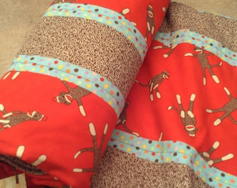 Ready to Ship Sock Monkey Quilt Clearance