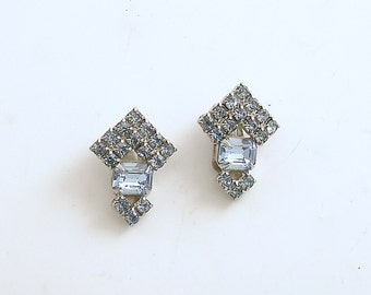 Vintage Earrings Clip On Blue Rhinestones Costume Jewelry