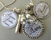 Chevron PERSONALIZED necklace Love you to moon and back, Childrens Names, Mother's Day gift, Nana, Grandma, Nana, Mimi, count your blessings