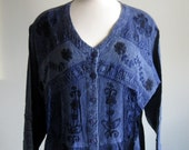 Vintage Dress -  Denim Blue Rayon with  Crushed Velvet and Embroidered Bodice