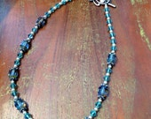 Aqua crystal pearl beaded necklace