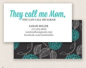 AQUA & BOTANICAL - Double Sided - DIY Printable - Mommy Calling Card Template