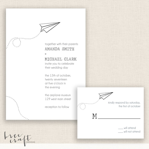 PAPER AIRPLANE - DIY Printable Wedding - Invitation and Reply Card
