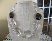 Modern Clear and Brown Glass Beaded Necklace