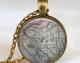 Nicaragua map  necklace,  Nicaragua  America map pendant ,  Nicaragua glass dome pendant,map jewelry