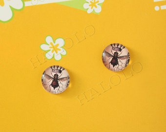 Sale - 10pcs handmade queen bee round clear glass dome cabochons 12mm (12-1080)